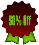 50 PERCENT OFF on red seal with green ribbons. Illustration vector illustration