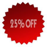 25 PERCENT OFF on red sticker label. Illustration graphic design concept image Royalty Free Stock Image