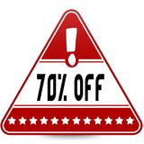 70 PERCENT OFF on red triangle road sign. Illustration Stock Images