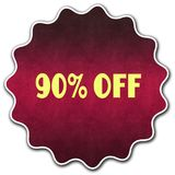 90 PERCENT OFF round badge. Illustration graphic concept image Stock Photos