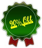90 PERCENT OFF round green ribbon. Illustration graphic design concept image Stock Photos