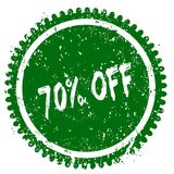 70 PERCENT OFF round grunge green stamp. Illustration concept Royalty Free Stock Image
