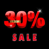 30 percent off, 30 sale discount, 30% sale text Stock Photography