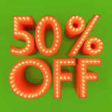 50 percent off sale offer discount orange green 3D illustration. 50% off discount offer sale price orange green 3D illustration Stock Photos