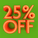 25 percent off sale offer discount orange green 3D illustration Royalty Free Stock Photo