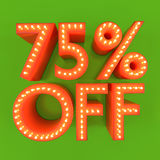 75 percent off sale offer discount orange green 3D illustration. 75% off discount offer sale price orange green 3D illustration royalty free illustration