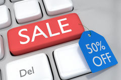 50 percent off sale. Render illustration of computer keyboard with Royalty Free Stock Photo