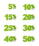 Percent off sale signs Royalty Free Stock Photo