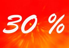 30 percent off shopping tag icon. In red Royalty Free Stock Photos