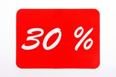 30 percent off shopping tag icon. In red Royalty Free Stock Images