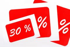 30 percent off shopping tag icon. In red Stock Photo