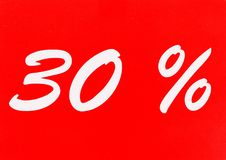 30 percent off shopping tag icon. In red Stock Photography