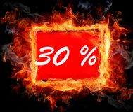 30 percent off shopping tag icon. In red Stock Image