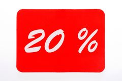 20 percent discount icon. 20 percent off shopping tag icon in red Stock Image