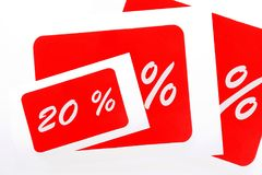 20 percent discount icon. 20 percent off shopping tag icon in red Stock Images