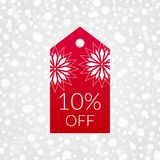 10 percent off shopping tag vector icon. Discount symbol for merchandise, store, shop. Illustration sign for winter sale. 10 percent off shopping tag vector icon Stock Images