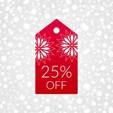 25 percent off shopping tag vector icon. Isolated discount symbol. Illustration sign for winter sale. Decorative Christmas background with snowflakes, sparkles Stock Photography