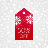 50 percent off shopping tag vector icon. Isolated discount symbol for store, shop. Sign for winter sale. 50 percent off shopping tag vector icon. Isolated Stock Image