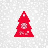 50 percent off shopping tag vector icon with snowflake. Isolated Christmas tree discount symbol. Winter sale illustration Stock Photography