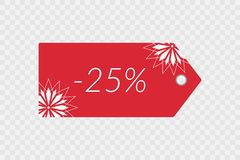 25 percent off shopping tag vector icon on transparent background. Discount symbol for merchandise, shop, store. Advertisement, finance, purchase. Illustration Royalty Free Stock Photos