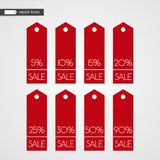 5 10 15 20 25 30 50 90 percent off shopping tag vector icons. Isolated discount symbols Stock Image