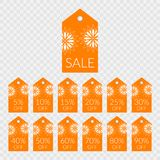 5 10 15 20 25 30 40 50 60 70 80 90 percent off shopping tag vector icons. Labels for sale. 5 10 15 20 25 30 40 50 60 70 80 90 percent off shopping tag vector royalty free illustration