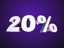 20 percent off. Sign 3D render Royalty Free Stock Images