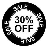 30 percent off sign. An illustration of a sale symbol with 30% off Stock Photos