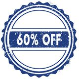 60 PERCENT OFF stamp. sticker. seal. blue round grunge vintage ribbon sign. Illustration Stock Photo