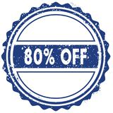 80 PERCENT OFF stamp. sticker. seal. blue round grunge vintage ribbon sign. Illustration Stock Photography