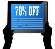 70 PERCENT OFF on tablet screen, held by two hands. Illustration Stock Photos
