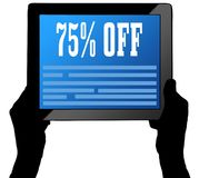 75 PERCENT OFF on tablet screen, held by two hands. Illustration vector illustration