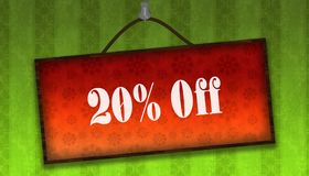 20 PERCENT OFF text on hanging orange board. Green striped wallp. Aper background. Illustration royalty free illustration