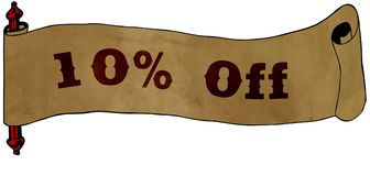 10 PERCENT OFF text on old scroll paper drawing illustration. Concept Royalty Free Stock Image