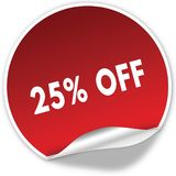 25 PERCENT OFF text on realistic red sticker on white background. Illustration Stock Photos