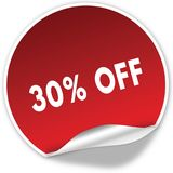 30 PERCENT OFF text on realistic red sticker on white background. Illustration Stock Photo