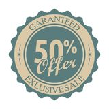 50 percent off vintage tag. Round retro label isolated on a white background Royalty Free Illustration