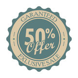 50 percent off vintage tag. Round retro label isolated on a white background Royalty Free Stock Photos