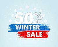 50 percent off winter sale in blue drawn banner Stock Image
