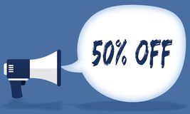 50 PERCENT OFF writing in speech bubble with megaphone or loudspeaker. Illustration concept Stock Photography