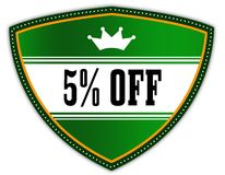 5 PERCENT OFF written on green shield with crown. Illustration Stock Photography