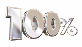 100 Percent One Hundred Full Amount Number. 3d Animation stock illustration