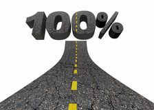 100 Percent One Hundred Top Score Total Complete Road 3d Illustr. Ation Stock Image