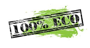 100 percent eco black and green stamp on white background. 100 percent option black and green stamp stock illustration