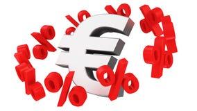 Percent orbit. Discount orbit around the euro symbol Stock Photography
