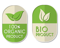 100 percent organic and bio product with leaf sign, two elliptic. 100 percent organic and bio product with leaf signs banners, two elliptic flat design labels vector illustration