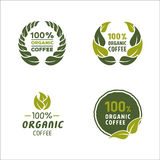 100 percent organic coffee logo and sign. Graphic vector stock illustration