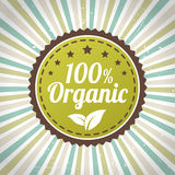 100 percent organic eco label. Isolated form background royalty free illustration