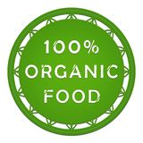 100 percent organic food label. Illustration of an organic food label Royalty Free Stock Photo
