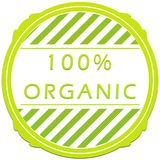 100 percent organic label. Green 100 percent organic label on a white background Royalty Free Stock Photography